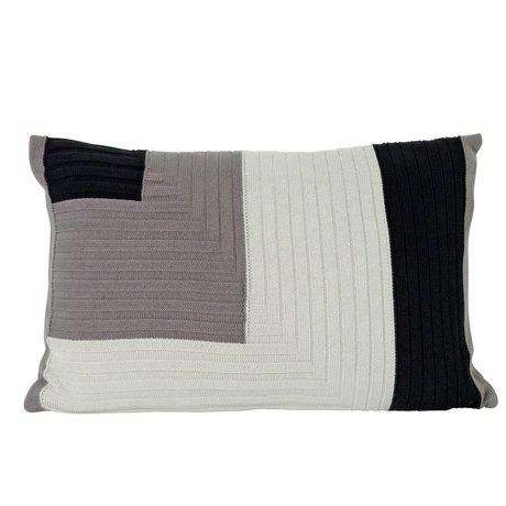 Ferm Living Cuscino angolo Knit 60x40cm in cotone grigio