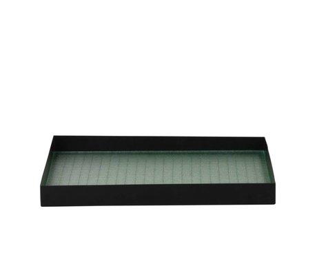 Ferm Living Tray Haze black metallic glass M 33x24x3,2cm
