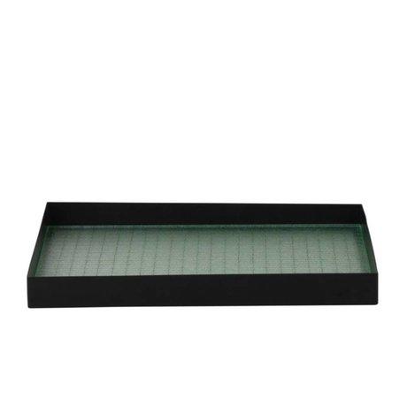 Ferm Living Vassoio Haze nero metallizzato vetro M 33x24x3,2cm