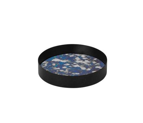 Ferm Living Couplé plateau en verre bleu Metallrahme S Ø16x3,2cm