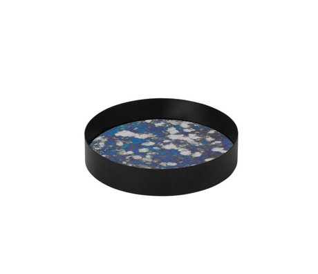 Ferm Living Coupled Tablett blau Metallrahme Glas S Ø16x3,2cm