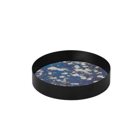 Ferm Living vassoio accoppiato blu vetro Metallrahme S Ø16x3,2cm