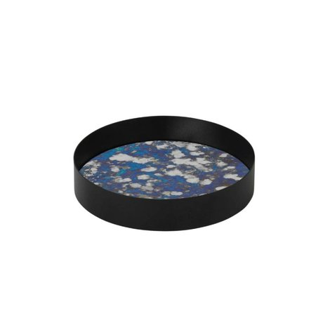 Ferm Living vidrio azul bandeja Junto Metallrahme S Ø16x3,2cm