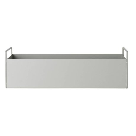 Ferm Living fábrica de cajas de metal gris brillante S 45x14,5x17cm