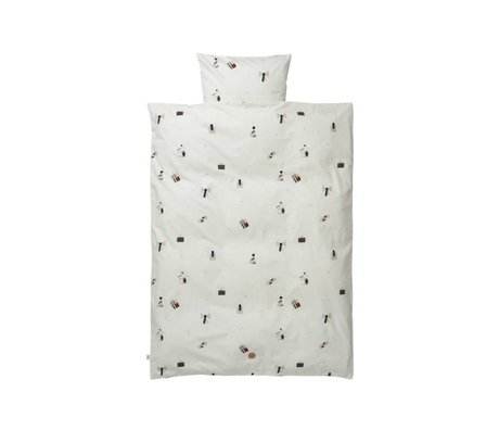Ferm Living Partido lecho del bebé 70x100cm conjunto blanco de algodón orgánico que incluye una funda de almohada 46x40cm