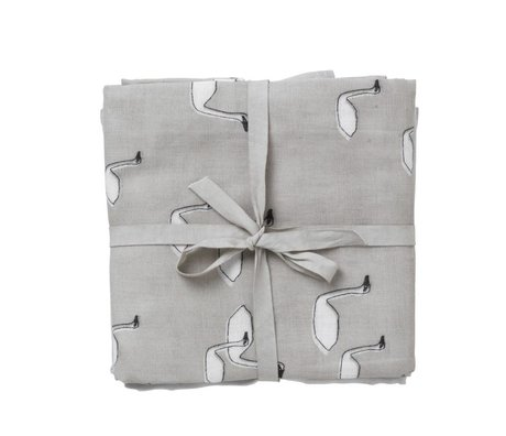 Ferm Living Hydrophilic muslin swan Set of 3 gray organic cotton 70x70cm