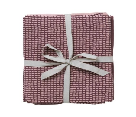 Ferm Living Hydrophilic muslin set of 3 taupe pink organic cotton 70x70cm