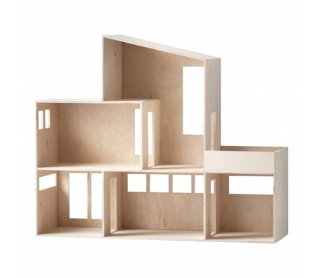 Ferm Living Miniature Funky House brown plywood 66.8x55.5x20cm