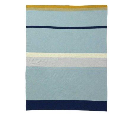Ferm Living Poco a rayas manta de bebé de algodón azul, 80x100cm