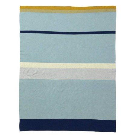 Ferm Living Coperta del bambino piccolo a righe blu di cotone, 80x100cm