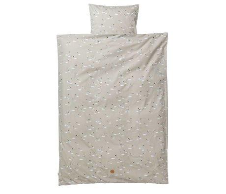 Ferm Living Bedding Set Swan junior grå bomuld 110x140cm inkl pudebetræk 46x40cm