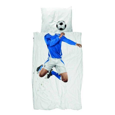 Snurk Linen Soccer Champ blå bomuld 140x200 / 220cm
