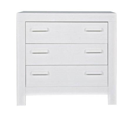 LEF collections Commode de New life 'tiroirs de pin brossé, blanc, 95x52x91cm