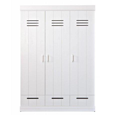 LEF collections Wardrobe 'Connect' con 3 ante e cassetti in legno di pino, bianco, 195X140X53cm