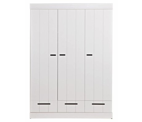 LEF collections Kleiderschrank 'Connect' mit 3 Türen und Schubladen aus Kiefer, weiß, 195X140X53cm