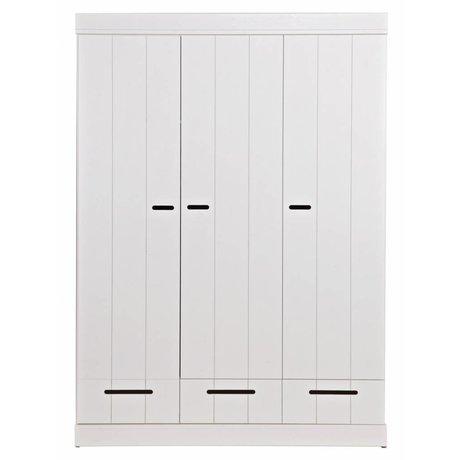 """LEF collections Wardrobe """"Connect"""" med 3 døre og skuffer lavet af fyrretræ, hvid, 195X140X53cm"""