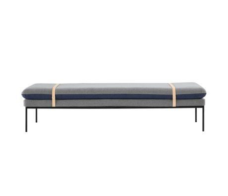 Ferm Living Banca Accendere divano grigio blu tessile 190x42x80cm