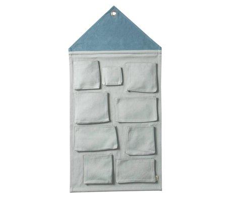 Ferm Living Wall opbevaring House støvet blå bomuld 50x98cm
