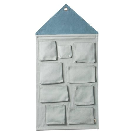 Ferm Living Wall Storage House dusty blue cotton 50x98cm