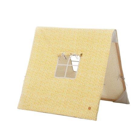 Ferm Living Kinder-Zelt Wave gelb Baumwolle Holz 100x100xcm