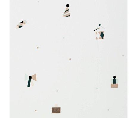 Ferm Living Papel tapiz multicolor papel partido 10x0,53m