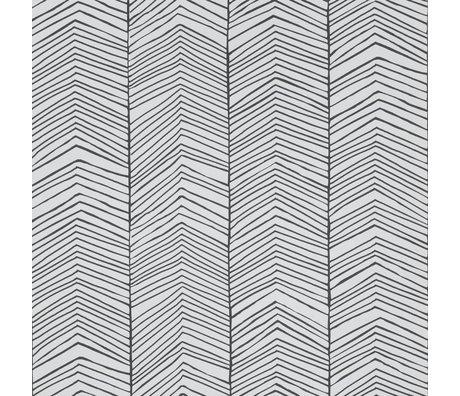 Ferm Living Tapete Herringbone Schwarz weiß Papier 10x0,53m