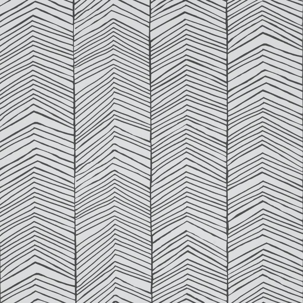 Ferm Living Tapete Herringbone Schwarz Weiss Papier 10x0 53m