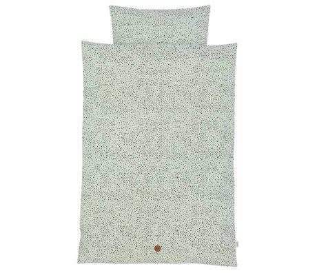 Ferm Living Bedding Dot Junior Set mintgrøn økologisk bomuld 100x140cm inkl pudebetræk 46x40cm