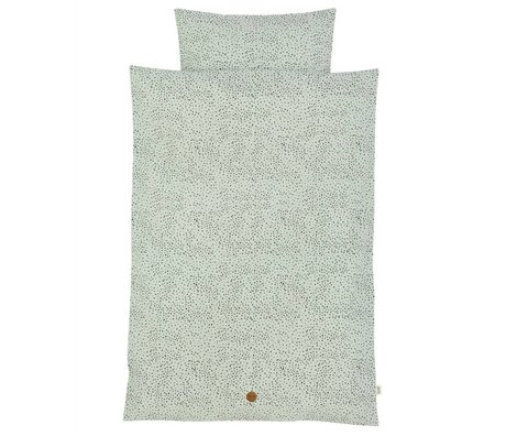Ferm Living Kinderbettwäsche Dot Junior Set mintgrün Bio-baumwolle 100x140cm inkl kissenbezug 46x40cm