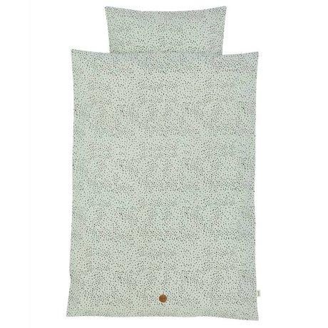 Ferm Living Literie Dot Complet Junior 100x140cm en coton bio vert menthe y compris taie 46x40cm
