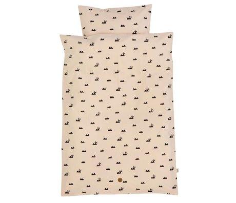 Ferm Living Kanin baby sengetøj sæt lyserød økologisk bomuld 70x100cm herunder pudebetræk 46x40cm