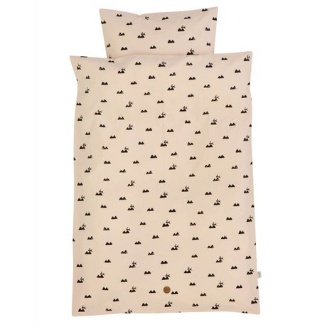 Ferm Living Del lecho de conejo color rosa junior 100x140cm algodón orgánico incluido funda de almohada 46x40cm