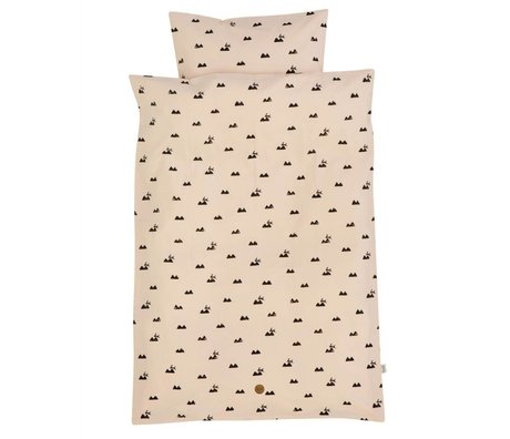 Ferm Living Bedding Rabbit Adult Set pink organic cotton 140x200cm incl pillow cover 63x60cm