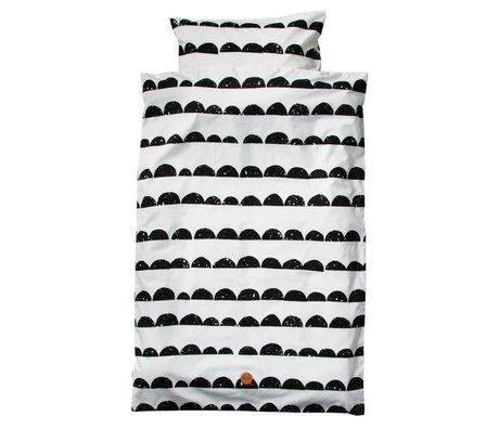 Ferm Living Literie Half Moon junior Set coton bio noir et blanc 100x140cm y compris taie 46x40cm