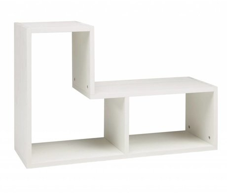 LEF collections Brossé pin, blanc, 80x27x54cm Cabinet 'Tetris