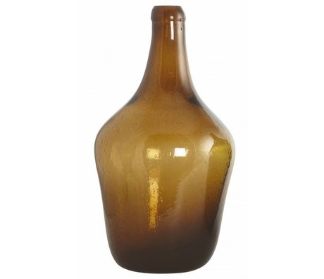 Housedoctor Vetro soffiato bottiglia / vaso 'Rec', marrone, Ø23x41cm