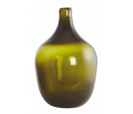 Housedoctor Vetro soffiato bottiglia / vaso 'Rec', verde oliva, Ø24x38cm