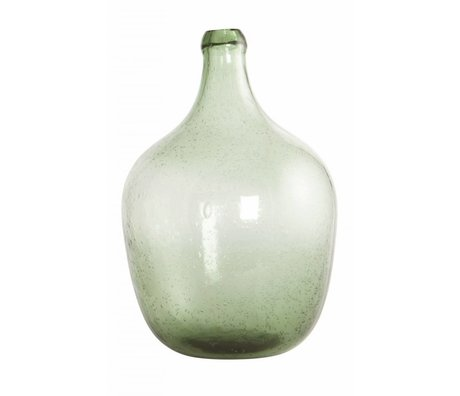 Housedoctor Vetro soffiato bottiglia / vaso 'Rec', verde chiaro, Ø19.5x28.5cm