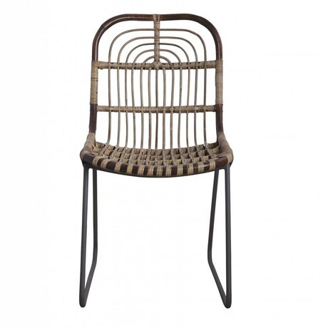 Housedoctor Dining chair Kawa metal / rattan, gray, 46x52x86cm