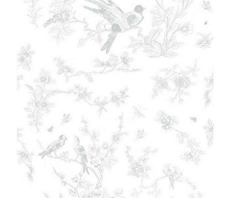 Kek Amsterdam Fonds d'écran oiseaux et se développer du papier tissu gris 97,4x280cm