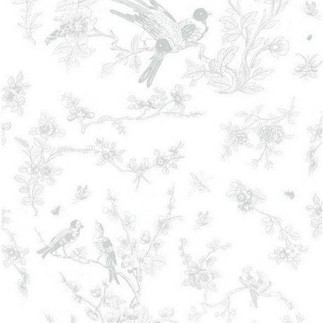 Kek Amsterdam Sfondi Birds & fiorire tessuto grigio carta 97,4x280cm