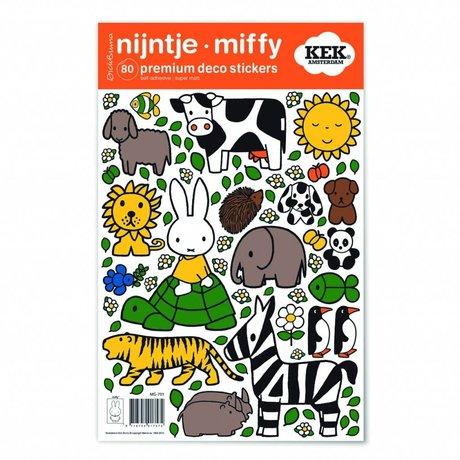 Kek Amsterdam Etiqueta de la pared Miffy amantes de los animales de vinilo multicolor S 21x33cm