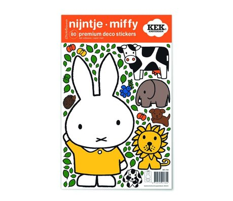 Kek Amsterdam Wall Sticker Miffy gul kjole flerfarvet vinyl S 21x33cm