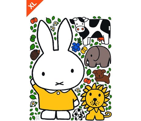 Kek Amsterdam Wall Sticker Miffy robe jaune multicolor vinyle XL 95x120cm