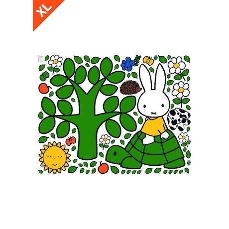 Kek Amsterdam Wall Sticker Miffy su una tartaruga colorato in vinile XL 95x120cm