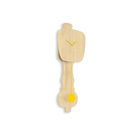 KLOQ Orologio in legno neutro piccola, 59x20,4x6cm di legno giallo