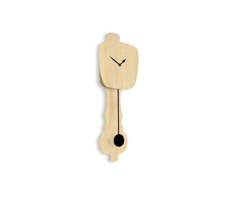 KLOQ Orologio in legno neutro piccolo, nero 59x20,4x6cm legno