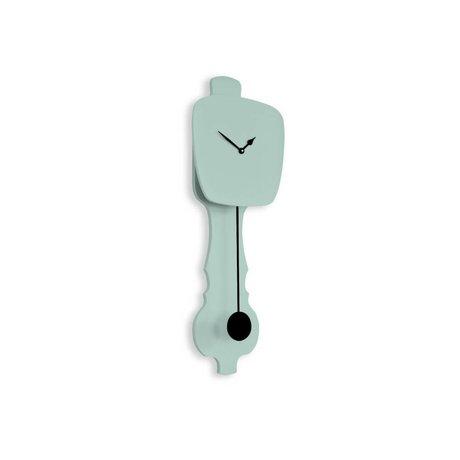 KLOQ Clock mint green small, black wood 59x20,4x6cm