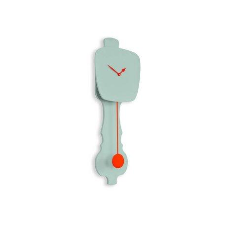 KLOQ Clock small mint green, orange wood 59x20,4x6cm