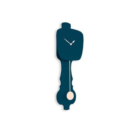 KLOQ Clock small petrol blue, rosewood 59x20,4x6cm